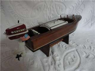 Vintage Dual Cockpit 1950s Wooden Chris Craft Style Toy Boat