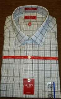 New Mens Slim Fit Gray CHAPS Plaids Dress Shirt   Wrinkle Free   MSRP