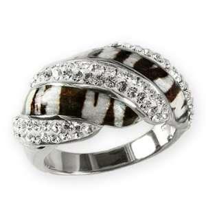 Ashley Arthur 925 Silver White Crystal & Zebra Enamel Swirl Ring Size