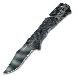 SOG Tiger Trident Serrated Black Folding Knife: Sports