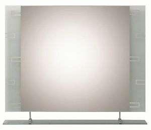 Contemporary Geometric Frameless Wall Mirror Shelf