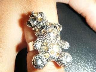 CRYSTAL DIAMONTE TEDDY BEAR & CROWN RING JUICY STYLE