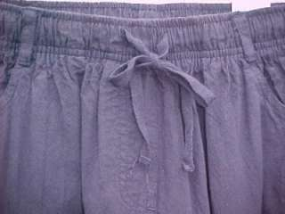Pretty NAVY BLUE DRAWSTRING COTTON PANTS Gloria Vanderbilt Casuals Sz