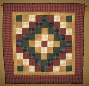 Hanging Quilt Primitive Country Trip Around the World 39 x 39 inch