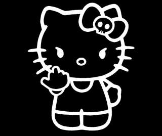 Hello Kitty Middle Finger Skull Bow Flipping Off Car Vinyl Window