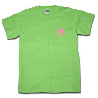 Seal Of Cotton Logo T Shirts   Color Lime Green With Pink Logo