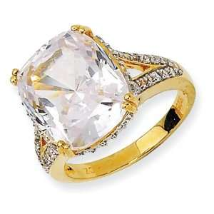 Gold plated Sterling Silver CZ Ring Size 6 Jewelry