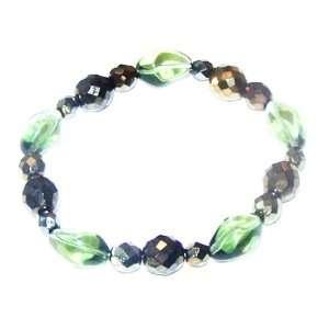 Czech Glass and Crystal Beaded Stretch Bracelet for Women