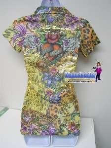 Womens Ed Hardy V Neck EXTERNAL LOVE Polo Shirt NEW