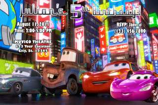 DISNEY CARS 2 MCQUEEN BIRTHDAY PARTY INVITATIONS FAVORS