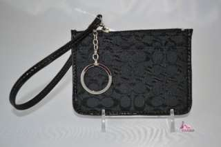 COACH SIGNATURE BLACK ID COIN PURSE KEY FOB RING WALLET CARD HOLDER