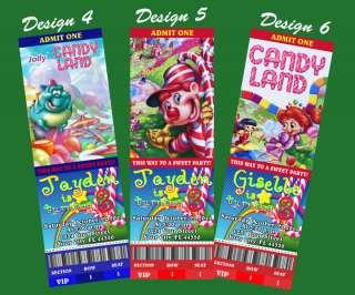 Candyland Custom Ticket Birthday Invitation Candy