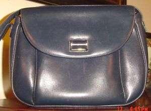 Vtg Salvatore Ferragamo Navy Blue Leather Shoulder Bag