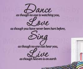 Vinyl Wall Art Decor Inspirational Decal Sticker Quote Dance Love Sing