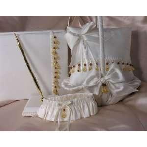 Off White Dupioni Silk Wedding Accessory Set with Copper