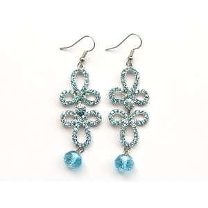 Sapphire Blue Crystal Rhinestone Flourish Fleur Dangle Bead Water Drop