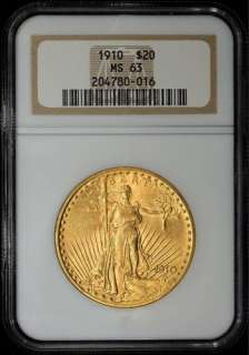1910 $20 SAINT GAUDENS GOLD DOUBLE EAGLE ~ NGC MS 63 ~ CHOICE