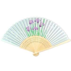 Fabric   Perforated Light Wood Hand Held Folding Fan