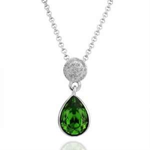 White Gold Crystal Teardrop Love 18k Gold Plated Necklace