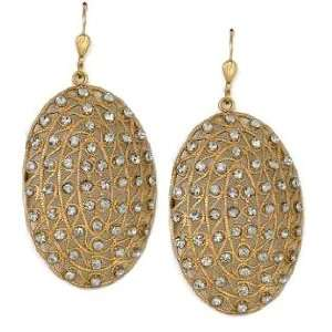 14k Gold Plated Oval Swarovski Crystal Dangle Earrings Jewelry