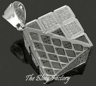 Mens 925 Sterling Silver Pave Rubiks Cube Pendant Charm