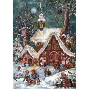 Snowy Old World Village Scene (S48): Home & Kitchen