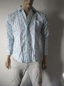 NOS VTG MENS 70s DEADSTOCK PRINT DRESS SHIRT 15 1/2