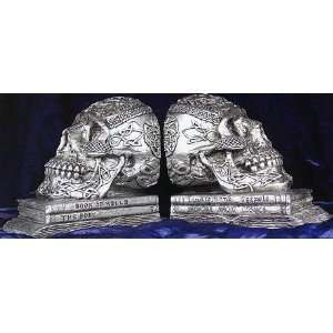 Irish Celtic Skull Skeleton Bookends Book Ends