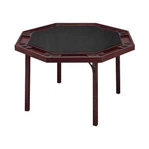 Octagon Poker Table with Mahogany Finish & Black Vinyl Top