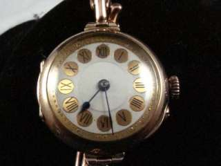 VINTAGE SWISS 9K SOLID GOLD LADY WRIST WATCH FANCY DIAL
