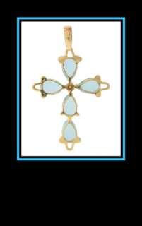 Ladies 14K Yellow Gold Blue Topaz and Diamond Cross Pendant