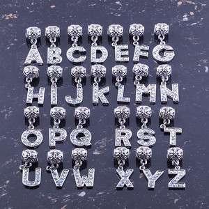 Crystal AB Rhinestone 24 Alphabet Letter Dangle Pendant Beads Charm