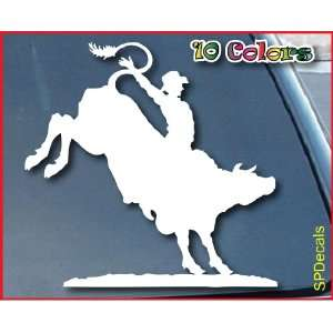 Bull Rider Cowboy Car Window Vinyl Decal Sticker 7 Wide (Color White