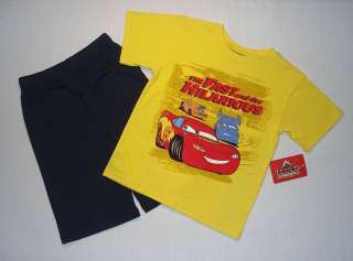 DISNEY PIXAR CARS Boys Size 6 Shorts, T Shirt Set, NEW