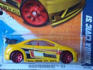 Hot Wheels 2011 Nightburnerz Honda Civic Si yellow #117