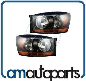 06 08 Dodge Ram Truck Headlights Headlamps w/Black Bezel Left & Right