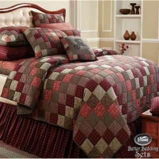 Red Patchwork Twin Queen Cal King Size Quilt Best Cotton Bedroom On