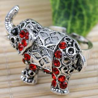 Vintage Red Rhinestone Crystal Elephant Cocktail Ring S6.5 Adjustable