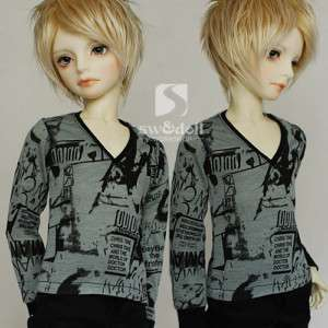 Super Dollfie(SD/Luts)Outfit   grey green print T shirt