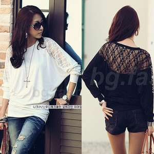 Womens Loose Batwing Top Dolman Long Sleeve Lace T Shirt Blouse Black