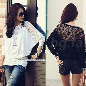 Womens Loose Batwing Top Dolman Long Sleeve Lace T Shirt Blouse Black