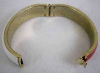 Vintage Red & White Enamel Metal Hinged Bracelet Bangle Estate