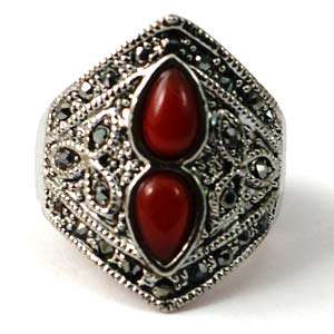 d7270 Size 10 Tibetan Silver Red Double Drop Diamante Zircon CZ