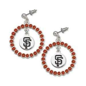 San Francisco Giants Earrings   Red Crystals & Logo