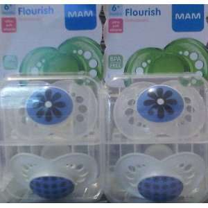 Flourish Orthodontic Pacifiers 6 Months 4 Pack Boy Flower Designs