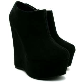 NEW WOMENS SUEDE STYLE WEDGE HEEL PLATFORM ANKLE BOOT SHOES SIZE