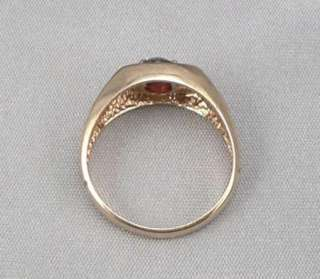 Vintage 10K Solid GOLD Mens 1.72ctw Pyrope GARNET DIAMOND RING Gents