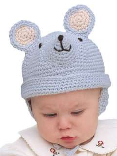 Wintertime Hats Crochet Patterns Bear Pig Mouse Baby/Toddler Ear Flaps