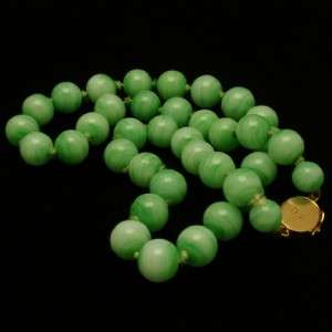 Jade Green Necklace Art Glass Beads with Gold Clasp Asian