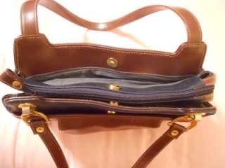 PERRY ELLIS AMERICA Navy / Brown Leather Look PURSE BAG